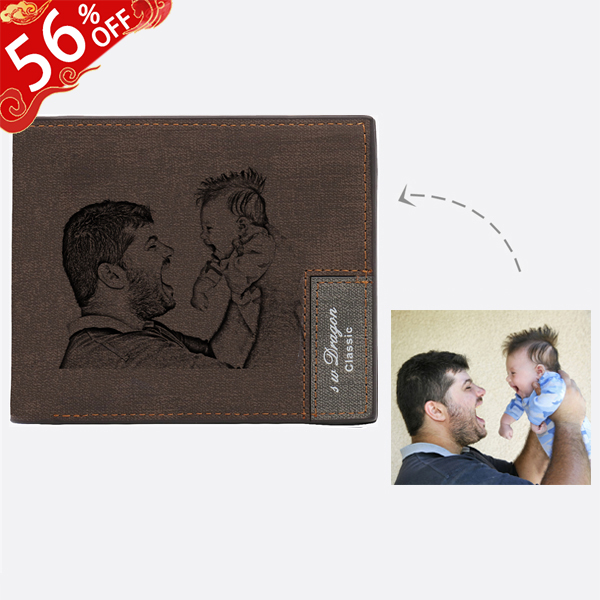 Personalized Photo Men's Dark Brown Wallet