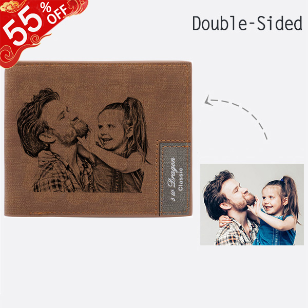 Personalized Double-Side Photo Men's Light Brown Wallet