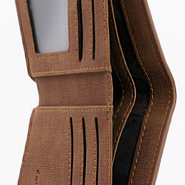 Double-Side Photo Men's Light Brown Wallet