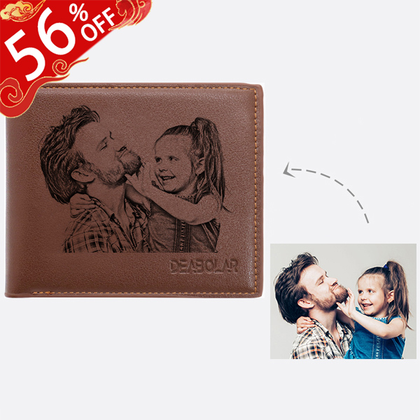 Personalized Photo Genuine Leather Men's Trifold Wallet