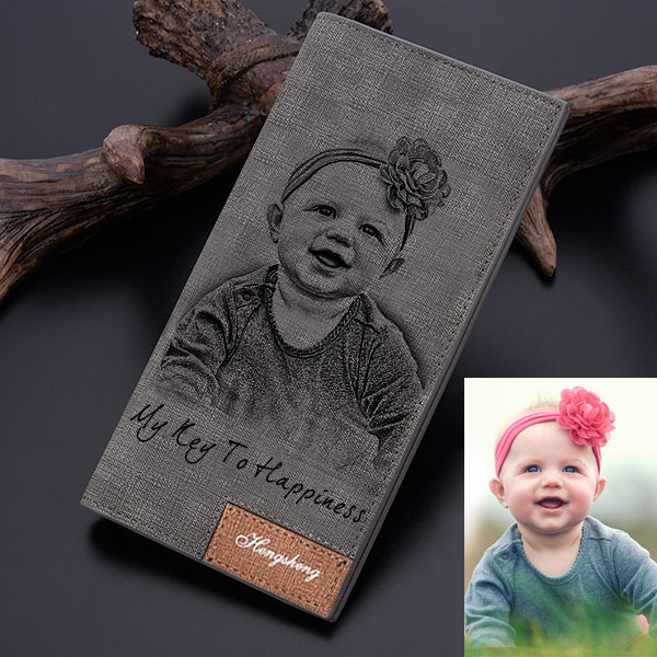 Personalized Photo Wallet Gray
