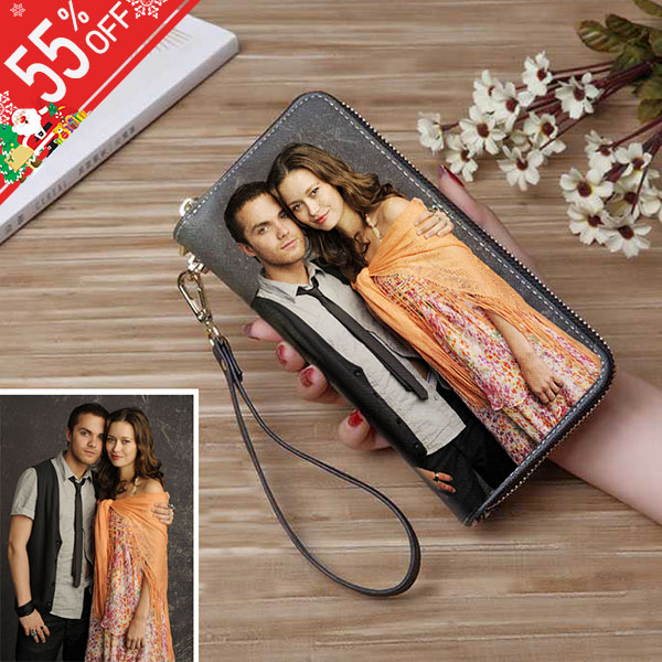 Personalized Photo Genuine Leather Double Zipper Wallet